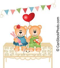 beren, schattig, liefde, twee, teddy