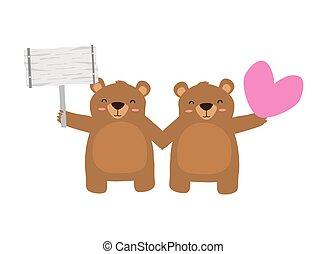 beren, schattig, weinig; niet zo(veel), hart