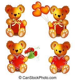 beren, teddy, hart