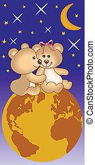 beren, teddy, liefde, heelal