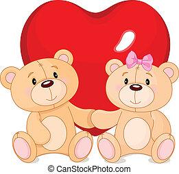 beren, teddy, liefde