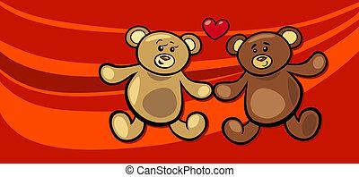 beren, valentijn, liefde, kaart, teddy