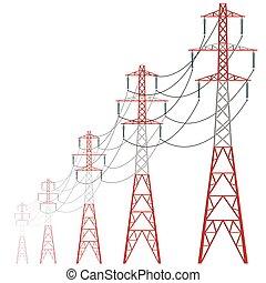 berendezés, erő, powerhouse., meleg, beton, frissítő, vektor, tower., bástya