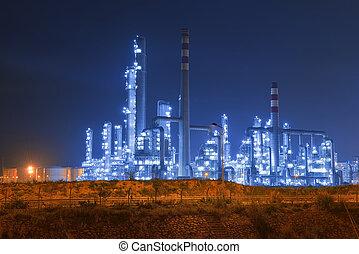 berendezés, ipari, iparág, finomító, melegvíztároló, éjszaka