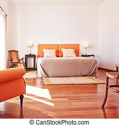 berendezés, kényelmes, room., interior., ágy, hálószoba