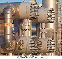 berendezés, modern, természetes, feldolgozás, gáz, feláll sűrű