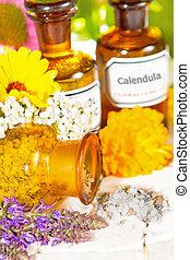 berendezés, olaj, extracts, aromatherapy, virágos, alapvető