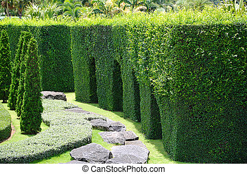 berendezés, park., zöld, kert