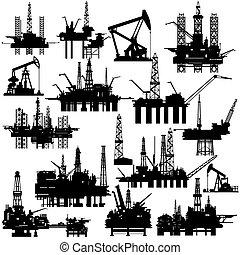 berendezések, olaj pumpa, fúrás