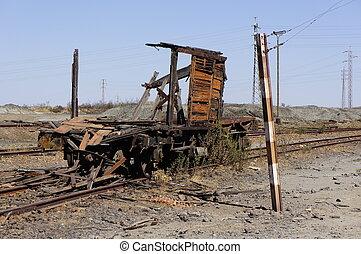 berendezések, wagon., elhagyatott, rakomány
