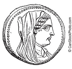 Berenice, vintage engraved illustration. Magasin Pittoresque 1870.