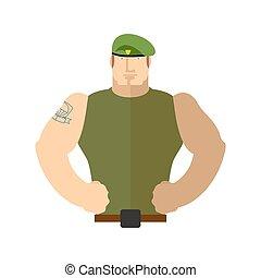 beret., żołnierz, portrait., wojska, wojskowy, zielony, szczególny