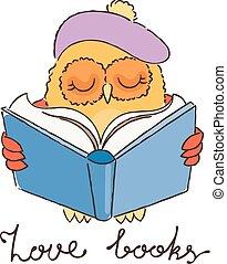 beret., フクロウ, 本, いたずら書き