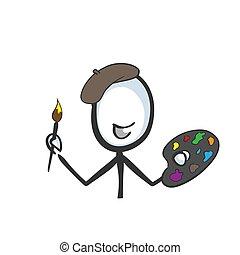 beret., artista, illustrazione, cartoon., pittura, tavolozza, schizzo, vettore, mano, stickman, scarabocchiare, drawn.