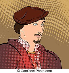 beret., seigneur., senor, medieval, retrato