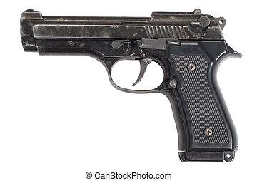 beretta pisztoly, elszigetelt, kéz, háttér, fehér