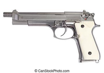 beretta pisztoly, hosszú, elszigetelt, háttér, fehér, m9