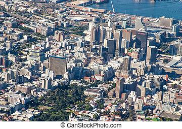 berg, aanzicht, tafel, landschap, perspectief, luchtopnames, stad, afrika, zuiden, kaap