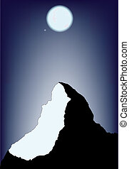berg, abend, szene