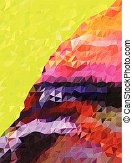 berg, abstract, driehoek, kleurrijke, model