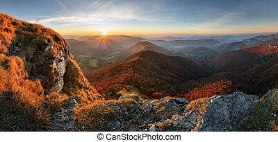 berg, an, sonnenuntergang