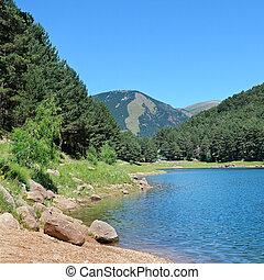 berg, (andorra), pyreneeën, meer
