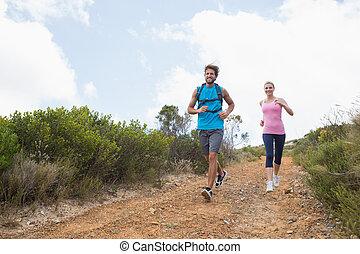 berg, anfall, paar, unten, spur, jogging, attraktive
