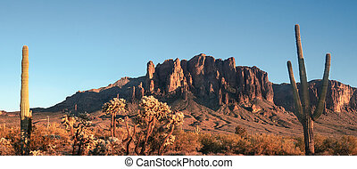 berg, arizona, phoenix., usa, west, bijgeloof, landscape, woestijn, zuiden