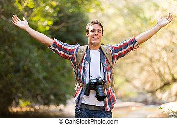 berg, arme öffnen, junger, fotograf