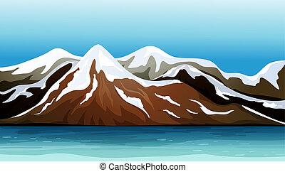 berg, bedeckt, mit, schnee