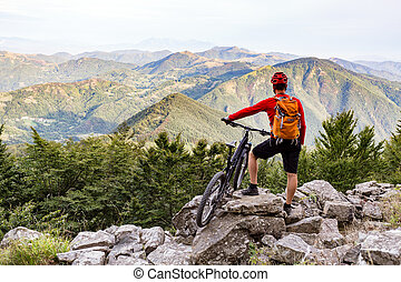 berg, bergen, herfst, spoor, fietser, fiets, het kijken, aanzicht