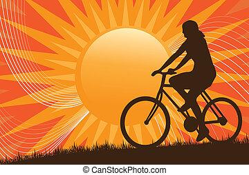 berg biking, silhouette