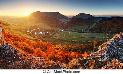 berg, bos, herfst landschap
