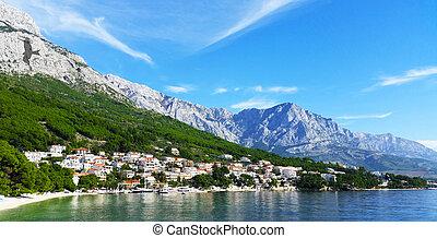 berg, brela, -, kroatien, meer, falke, schatten, ansicht