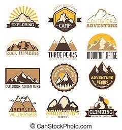 berg, buiten, set, iconen, reizen, vector