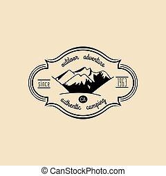 berg, buiten, toerist, landschap., kamp, etiket, adventures., vector, hipster, retro, badge, hand, getrokken, meldingsbord, logo.