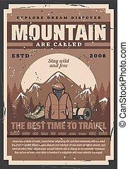 berg, buitene avontuur, equipments, bos