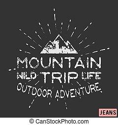 berg, buitene avontuur, ouderwetse , postzegel