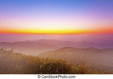 berg, bunte, himmelsgewölbe, morgen, majestätisch, landschaftsbild
