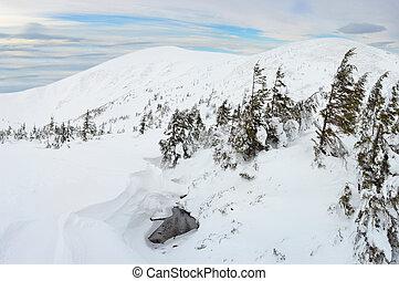 berg, carpathians, winterlandschap