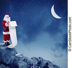 berg, claus, liste, mond, geschenke, liest, spitze, santa, unter