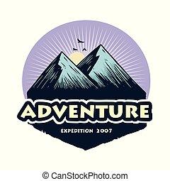 berg, communie, kamperen, badges., kamp, illustratie, avontuur, vector, ontwerp, bos, mal, logo, beklimming, emblems