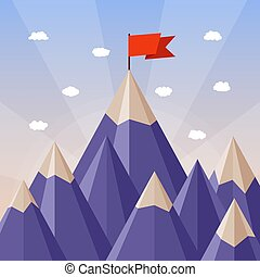 berg, concept, succes, vector, bewindvoering, landscape
