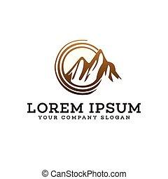 berg, concept, zon, ontwerp, mal, logo