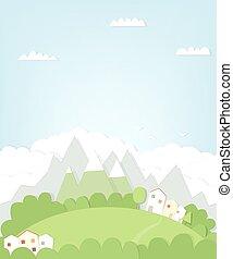 berg, cutout, landscape, woning