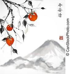 berg, date-plum, baum, hintergrund., früchte, orange, weißes...
