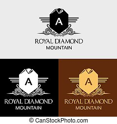 berg, diamant, koninklijk, mal, logo