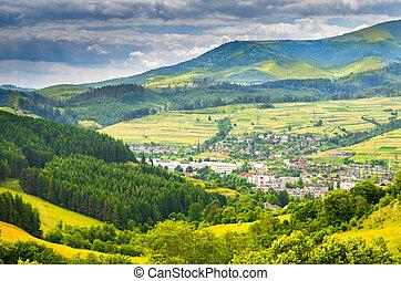 berg dorf, in, der, carpathians