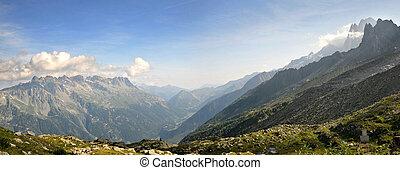 berg, du, midi, aanzicht, groot, aiguille, vallei, chamonix