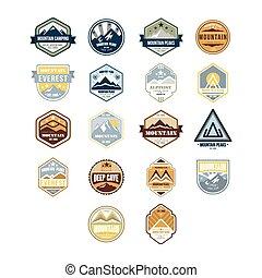 berg, en, buitene avontuur, ouderwetse , emblems, vector, set